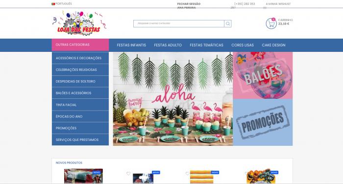Site ecommerce loja de venda online para produtos de festa