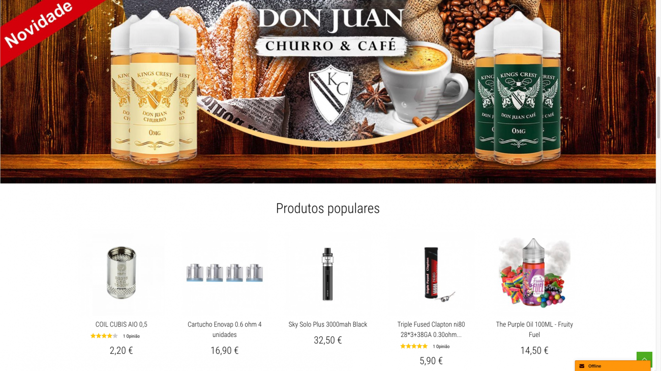 Vendas online (e-commerce) loja virtual site cigarros eletrónicos